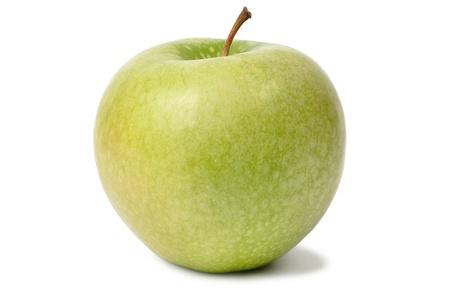 Ripe green apple on white background
