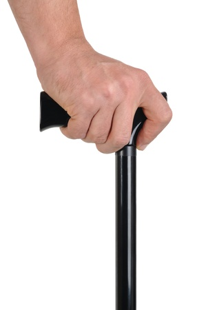 walking stick: Hand with walking stick isolated on white background