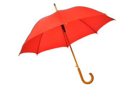 lluvia paraguas: Paraguas rojo abierto aisladas sobre fondo blanco