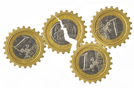 greek coins: Gears with euro coins inside and broken Greek gear