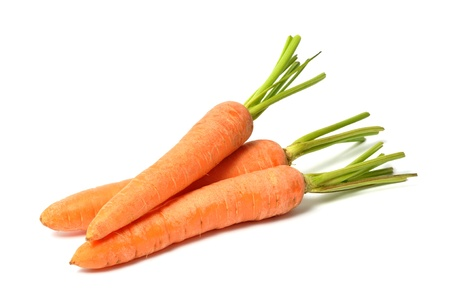 Fresh red carrots on white background
