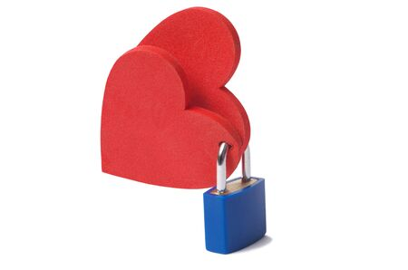 two hearts: Love concept: two hearts locked with a padlock on white background