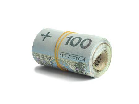 Macro of Polish bank notes on white background Stock fotó
