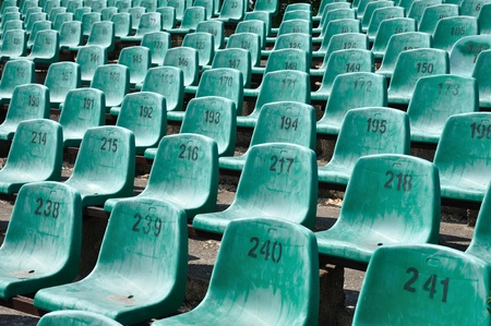 numbered: Green numbered seats at a stadium Editorial