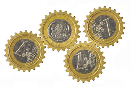 Gears with euro coins inside isolated on white background Stock fotó