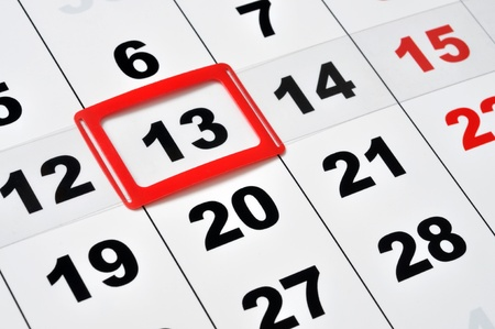 Macro of calendar showing friday the 13th Stock Photo - 13966451