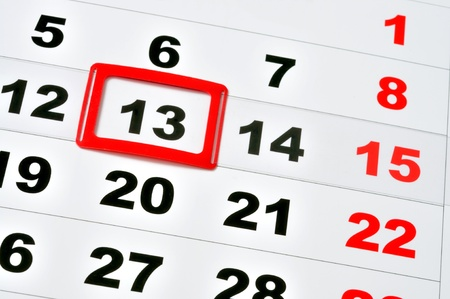 Macro of calendar showing friday the 13th Stock Photo - 14410676