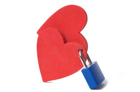 Love concept: two hearts locked with a padlock on white background Stock Photo - 14410674