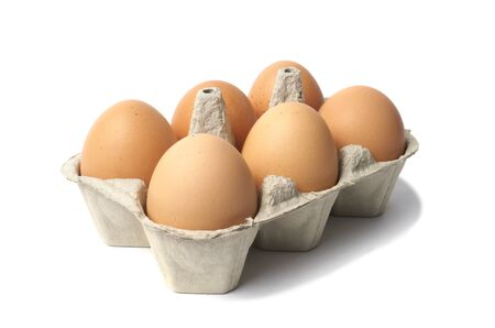 Six eggs in container isolated on white background Stock Photo - 15527974