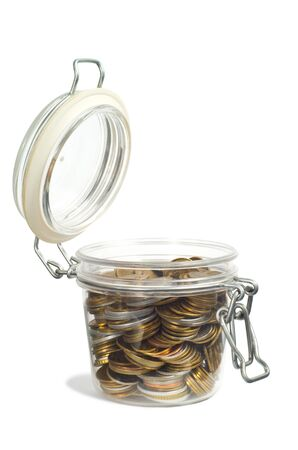Coins in a jar isolated on white background Stock Photo - 15527961