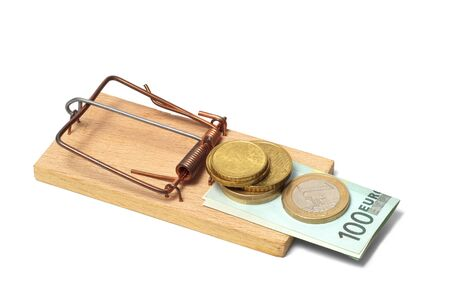 Mousetrap with euro money on white background Stock Photo - 15527967