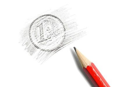 One Euro coin drawing and red pencil on white background Stock Photo - 17191026