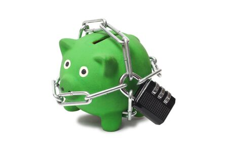Macro of green piggy bank with padlock and chains Stock Photo - 17191024