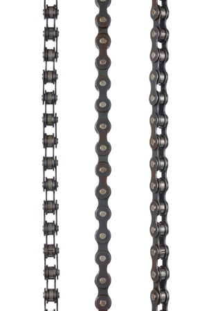 Three bicycle chains on white background, ready for cut and paste