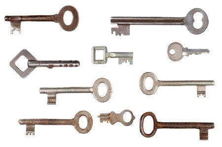 old keys: Set of old keys isolated on white background Stock Photo