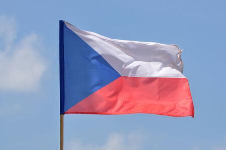 Flag of Czech Republic against blue sky
