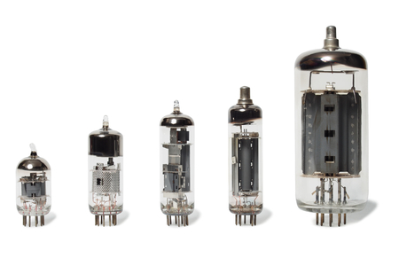 triode: Set of old vacuum tubes on white background