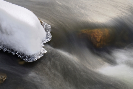 River in winter, long exposure time