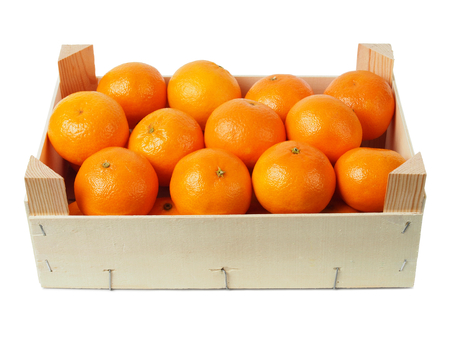 clementines: Set of clementines in a box isolated on white Stock Photo