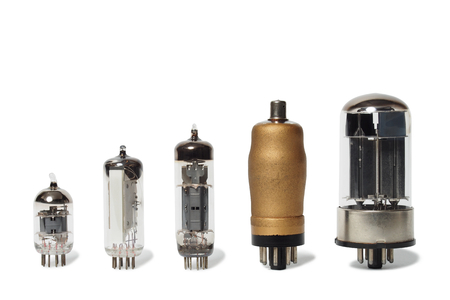 Set of old vacuum tubes on white background  photo