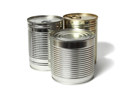 Three tin cans isolated on white