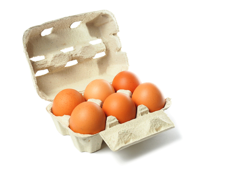 Six eggs in container isolated on white background photo
