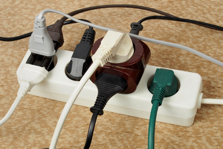 Extension cord with multiple european plugs Stock fotó