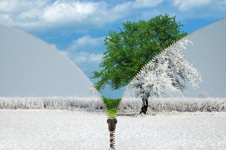 Reißverschluss und Wechsel der Jahreszeiten, Winter und Sommer