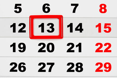 prophecy: Macro of calendar showing friday the 13th