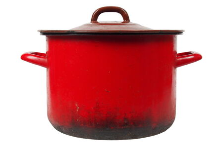 cooking pot: Old smoky kitchen pot isolated on white background Stock Photo