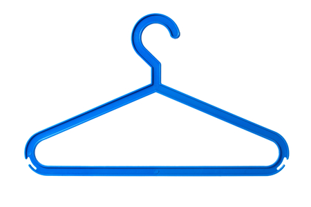 coat hangers: Blue plastic coat hanger isolated on white background Stock Photo