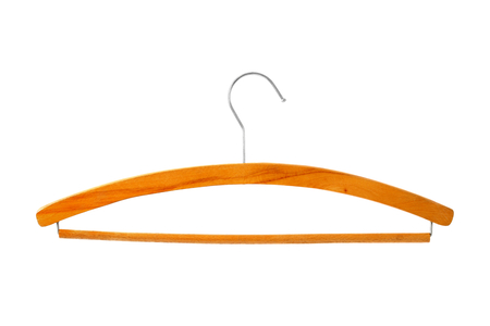 Old fashioned wooden coat hanger isolated on white background photo