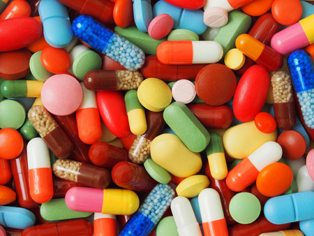 Macro of background made from pills and capsules