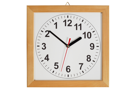 reverse: Reverse clock with wooden frame isolated on white background