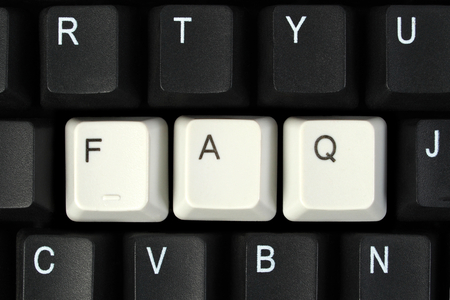 frequently: FAQ for Frequently Asked Questions as key caps on computer keyboard