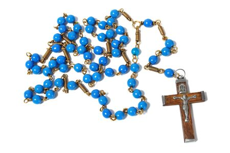 devotional: Blue rosary  isolated on white background. Stock Photo