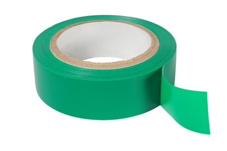 scotch tape: Green insulating tape isolated on white background