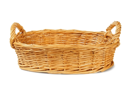 baskets: Empty wicker basket on white background Stock Photo