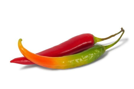 Red and green hot chili pepper Stock Photo