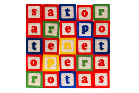 letter blocks: Sator square made from letter blocks Stock Photo