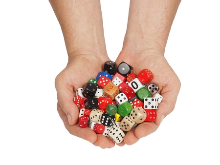 games hand: Hands with dice isolated on white background