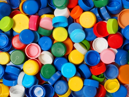 Waste plastic bottle caps ready for recycling