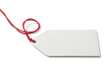 blank tag: Blank price tag on white background Stock Photo
