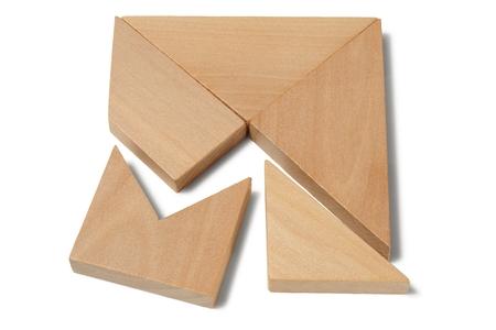 brain teaser: Wooden brain teaser isolated on white background
