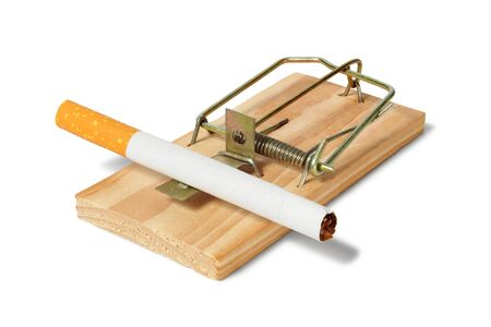 ailing: Mousetrap with cigarette on white background