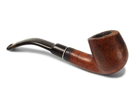 Old tobacco pipe on white background