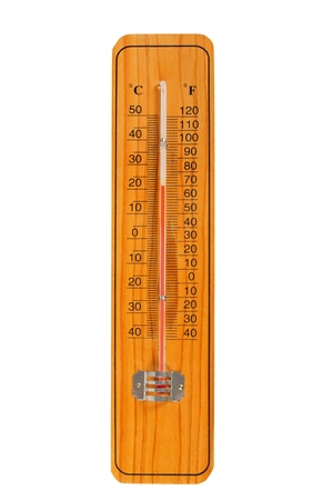 fahrenheit: Wooden thermometer with Celsius and Fahrenheit scales