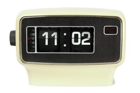 electromechanical: Vintage flip alarm clock on white background