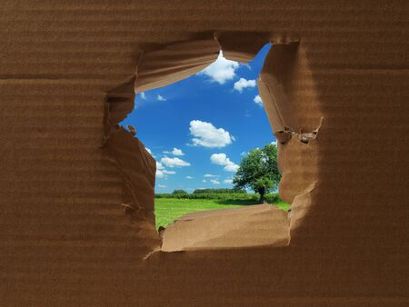 escape from prison: Cardboard with hole torn in the middle with sunny landscape outside Stock Photo