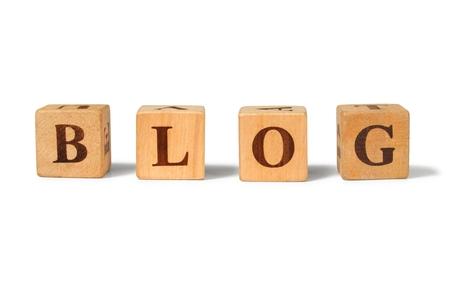 letter blocks: Word BLOG made from wooden letter blocks Stock Photo
